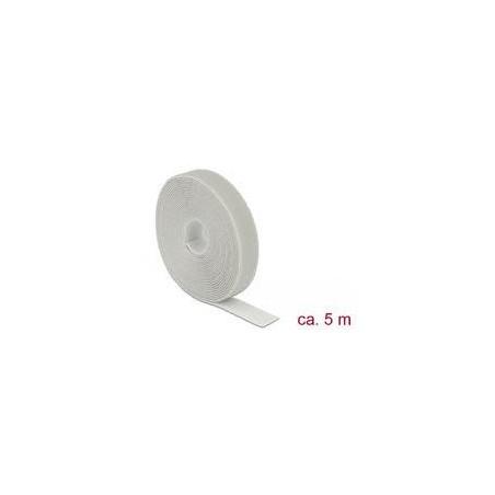 DELOCK Klett-Kabelbinder 20mm x 5m Rolle grau